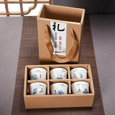 Chinese Porcelain 6Pcs Hand Painted Ceramic Kung Fu Tea Set Bowl Creative Gifts
