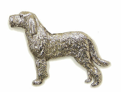 Italian Spinone (with tail) Brooch, Silver Finish