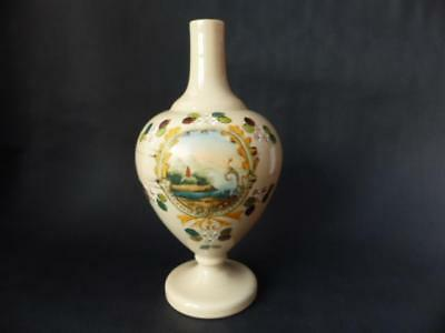 Victorian Opaque Bristol Glass Vase, Enamelled Scenery Decoration