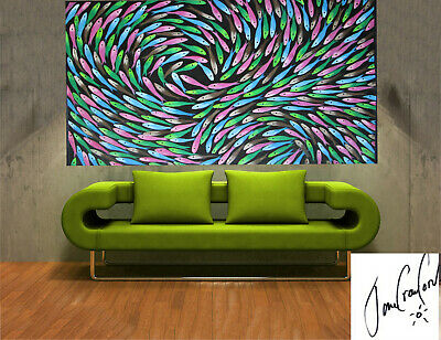 painting original Art By Jane Crawford  Huge fish dream abstract Australia dot