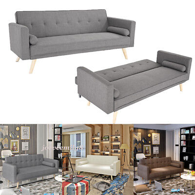 Luxury Modern 3 Seater With Cushions Padded Fabric Sofa Bed Sofabed Settee Home