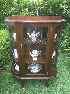 Antique / Vintage Art Deco Leadlight Display China Cabinet