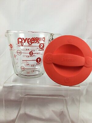 Pyrex Prepware 2 Cup Glass Measuring Cup Red Silicone Lid English On Both Sides