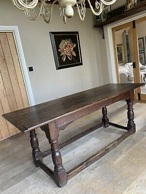 Original 17th Century Oak 6.6ft Refectory Dining Table Seats 8 Superb Patina