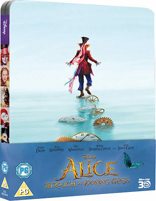 Alice Through the Looking Glass -Limited Edition Steelbook (Blu-ray 2D/3D) *NEW*