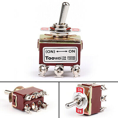 Toowei 2 Position 6Pin (ON)-ON 15A 250V Interrupteur à Levier DPDT Niveau AF