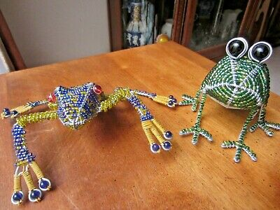 Frog Figurines, Glass Bead & Wire Frame Frog Figurine Sculptures, set of 2