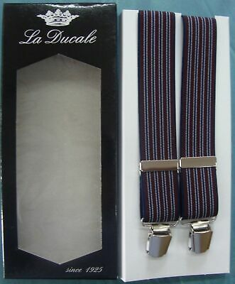 Bretelle BRETELLA uomo LA DUCALE cm.120 made in Italy colore BORDO/BLU