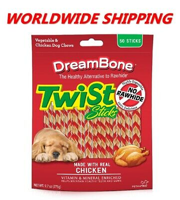 DreamBone Twist Sticks Chicken Flavor Dog Treats 9.7 Oz 50 Ct WORLDWIDE SHIPPING