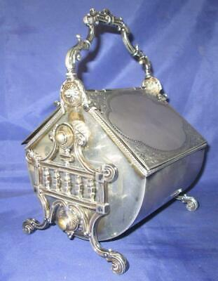 Ornate Unusual Victorian Silver Plated Biscuit Box c1890