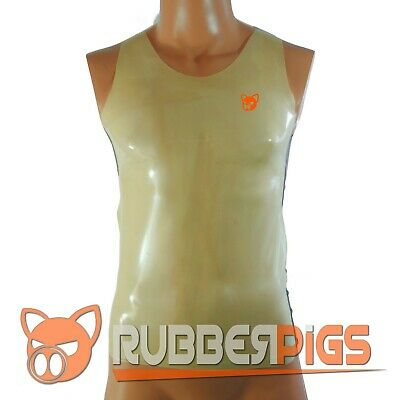 Mens Rubber shirt latex sleeveless T-shirt vest top translucent  tank top