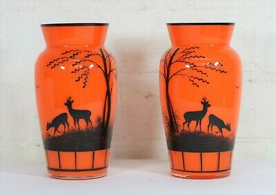 An Art Deco Pair of Antique Tango Orange Silhouette Glass Vases Bohemia Czech