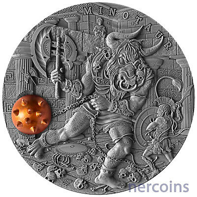 Niue 2017 Minotaur Ancient Myths 2 Oz Pure Silver Coin with Brass Insert Perfect