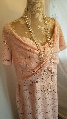 Vtg 1920,s 30's style Gatsby nude beaded sequin long wedding dress size 18 uk
