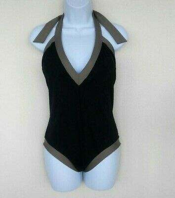 fecc5aac5a3 Trina Turk 14 One Piece Classic Black/Taupe Halter Tie Padded Swimsuit