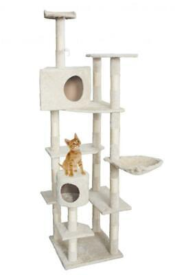 "New Cat Tree 80"" Condo Furniture Scratching Post Pet Cat Kitten House Beige"