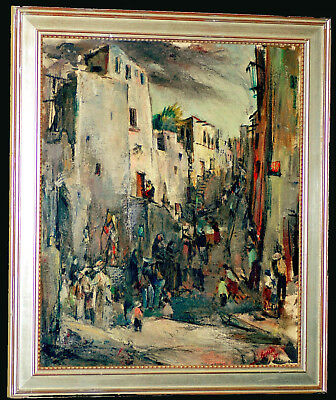 LISTED John William Guerin DATED 1947 Modernist OIL PAINTING TEXAS MUSEUM  MCM