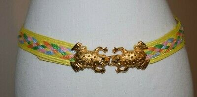Retro Vintage Dotty Smith Yellow Multicolor Belt With Frog Buckle