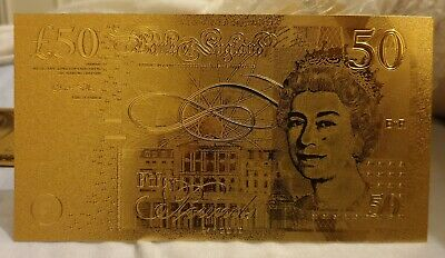 24k Gold UK £50 Pound Banknote Great Gift Idea, Birthday. Collectable.
