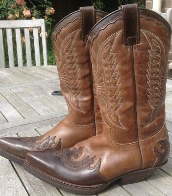 42a5c352c SENDRA Brown and Tan Leather Western Cowboy Boots Uk Size 4 With Eagle  Design