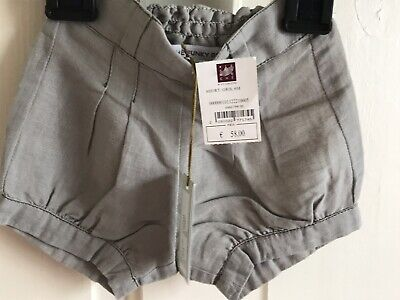 BNWT Lili & The Funky Boys Grey Shorts/ Hotpants. Girls. Age 0 - 3 Months. Linen