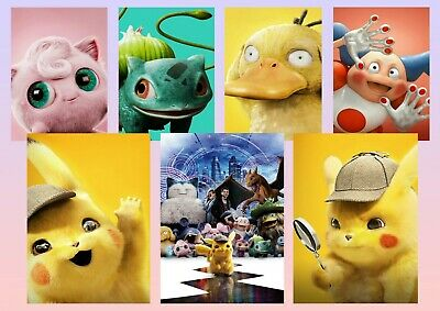 Pokémon Detective: Pikachu, Mr Mime, Psyduck A5 A4 A3 Textless Movie DVD Posters
