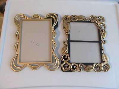 Lot of 2 Vintage Ornate Gold Tone Frames, Double Table Picture & Scroll Single