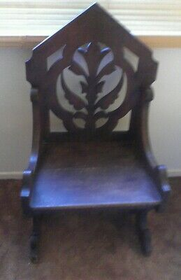 Good Quality Large Stained Oak Antique Chair In The Gothic/Arts & Crafts Style