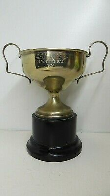 Vintage Silver Plate Wooden Base Trophy Kia Ora Sta Ladies Single Hdcp Cup 1934
