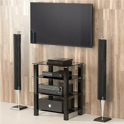FITUEYES Glass HIFI Stand Media Component Four Shelf Rack TV Cabinet 4 Tier Unit