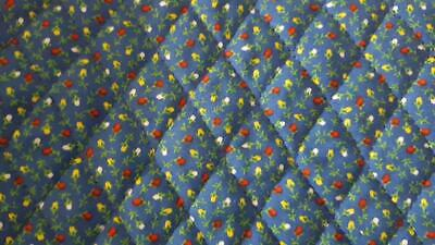 2 Yds Vintage Cranston Quilted Calico Cotton Fabric Med Blue Tiny Rose Buds, Flo