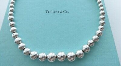 e4a2e8ca2 Authentic TIFFANY & CO 925 Sterling Silver Graduated Ball Beaded Necklace