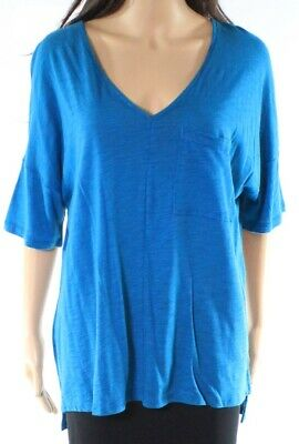 c0eec41462f HARLOWE & GRAHAM NEW Blue Womens Size Medium M V-Neck Peplum Knit ...