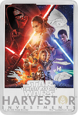 2019 Star Wars The Force Awakens Poster Coin - 1 Oz. Silver Coin - Ogp Coa