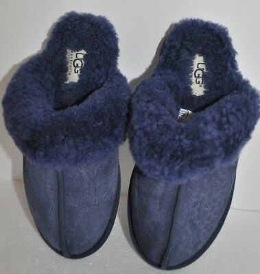269a1653e90 UGG SCUFFETTE II Navy Night SUEDE FUR CUFF SLIPPERS SIZE US 7 WOMENS ...