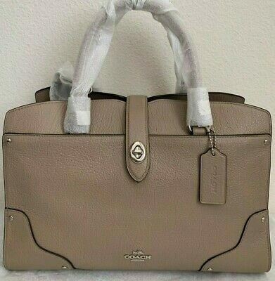 8be8f8372 Nwt Coach Mercer 30 Satchel In Grain Leather F37575 $395 Stone/Silver