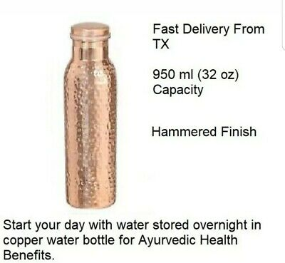 100% Pure Copper Ayurveda Health benefit Hand Hammered Water Bottle Container