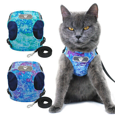 Reflective Cat Walking Jacket Harness Leash Escape Proof Soft Vest for Pet Puppy
