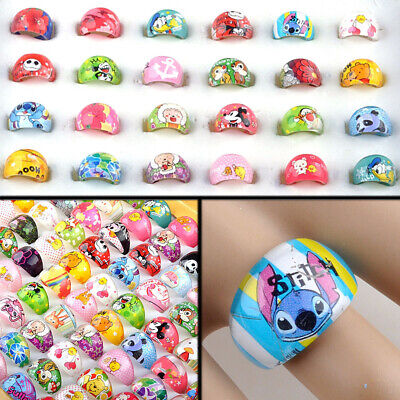 Wholesale 50Pcs Mixed Lots Cartoon Children Kids Resin Lucite Rings Jewelry