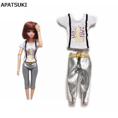 1Set Doll Clothes White Short Sleeve T-shirt + Trousers Pants For 11.5in Doll