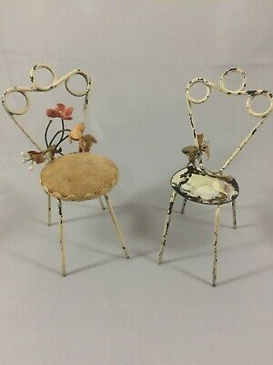 Vintage Miniature Ice Cream Chairs Doll House Garden Display White Metal Wire