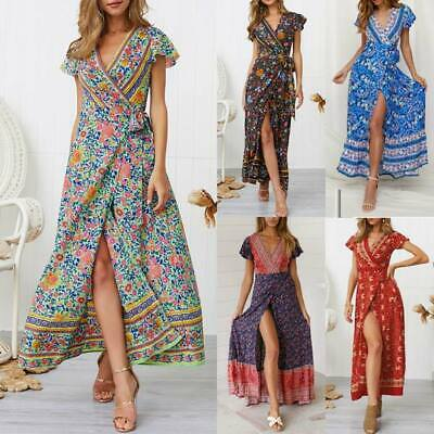 Cocktail long floral sundress Women's summer party boho beach dress evening maxi