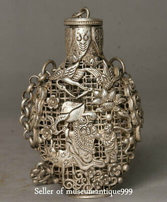 8CM Chinese Miao Silver Dynasty Immortal God Child Cranes Bird Snuff Bottle