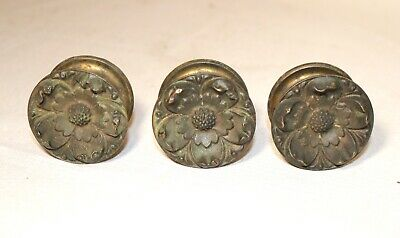 set 3 brass bronze ornate circular flower curtain tiebacks rod holders hardware