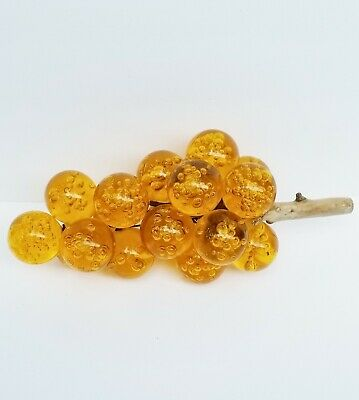 Vintage Lucite Acrylic Grape Bunch - Yellow, Amber, Bubbles