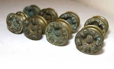 8 antique brass ornate circular flower curtain tiebacks rod holders hardware