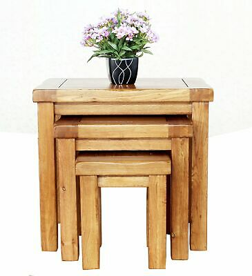 Coffee Table Set Solid Oak Nest of 3 Tables Bedside End Side Living Room Office