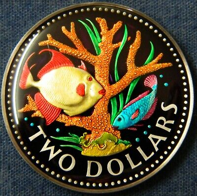 Rare Enameled 1973 Barbados Two Dollars Enamel Coin