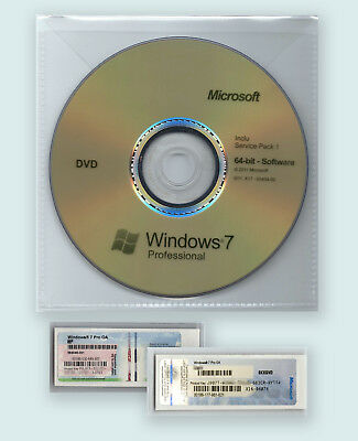1 Sticker Cle De Licence Windows 7 Professionel 64 Bit+ Dvd Install Sp1 Fr
