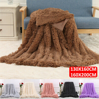 MECO Large Luxury Faux Fur Long Pile Throw Sofa Bed Soft Warm Blanket